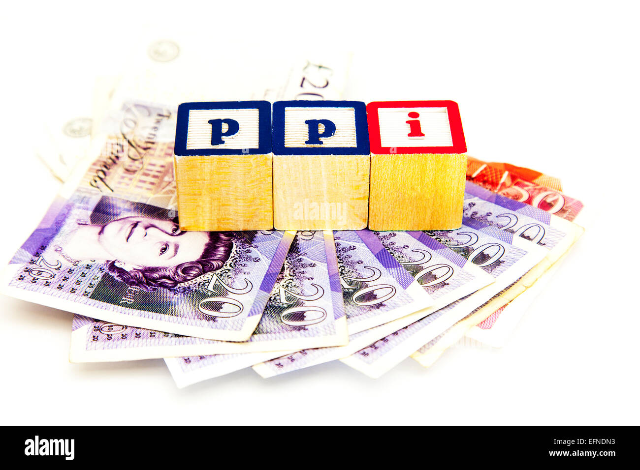 Ppi scandal payment protection scheme money payback claim payments insurance banks bank cut out copy space white - Stock Image