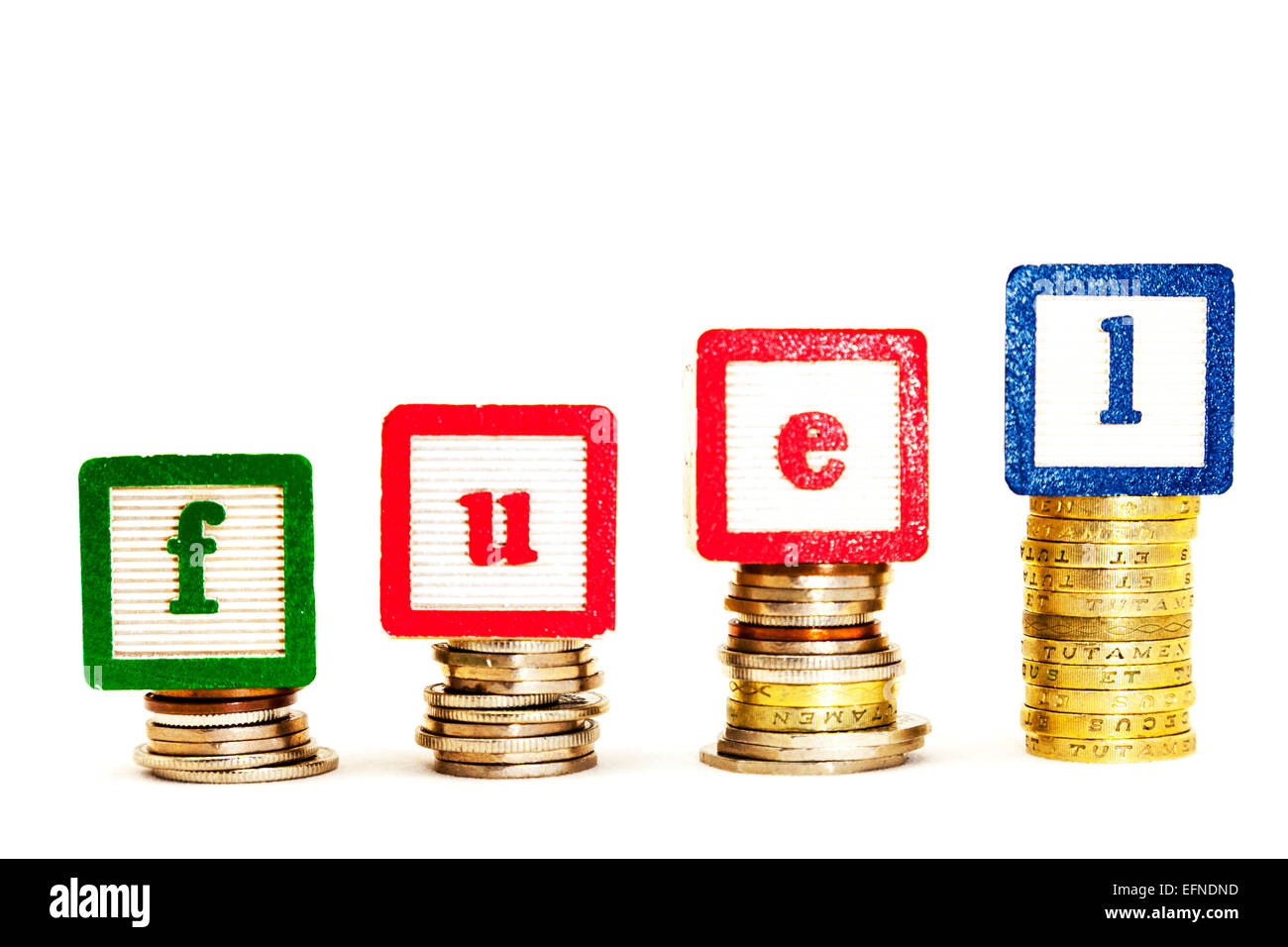 fuel prices rising rise costing more rise raise budget price cash less spend Copy space cut out white background - Stock Image
