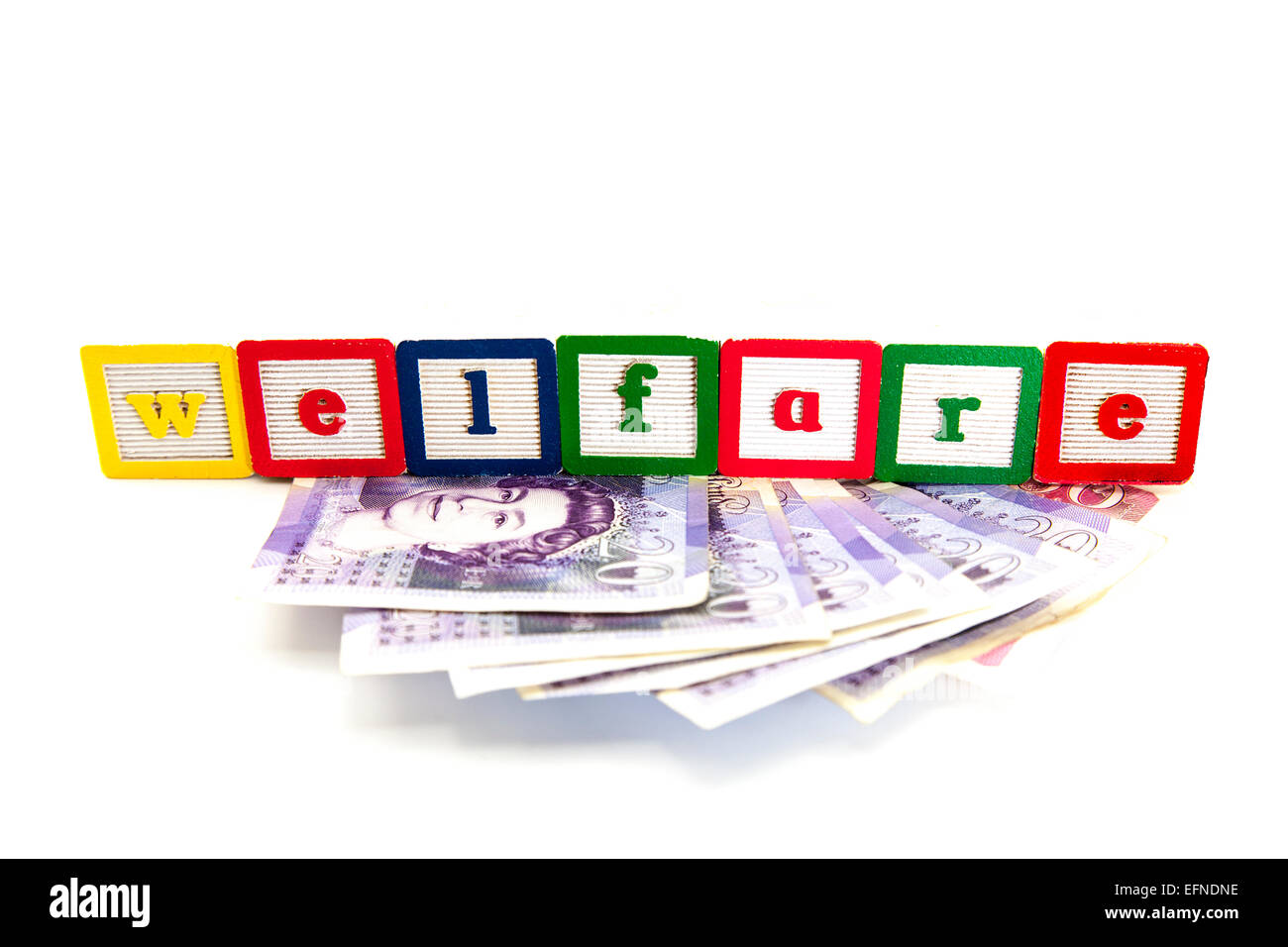 Welfare payment dole money benefits benefit cost costs fund funds government cuts cheat cut out copy space white - Stock Image