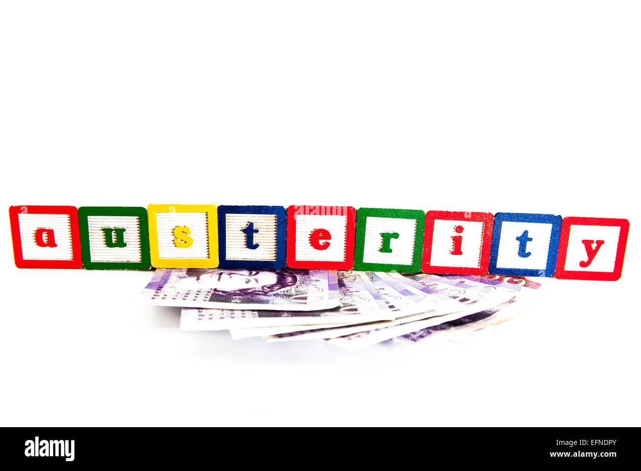 Austerity measures funds Greek crisis government saving money cut backs save reduce outgoings cut out copy space - Stock Image