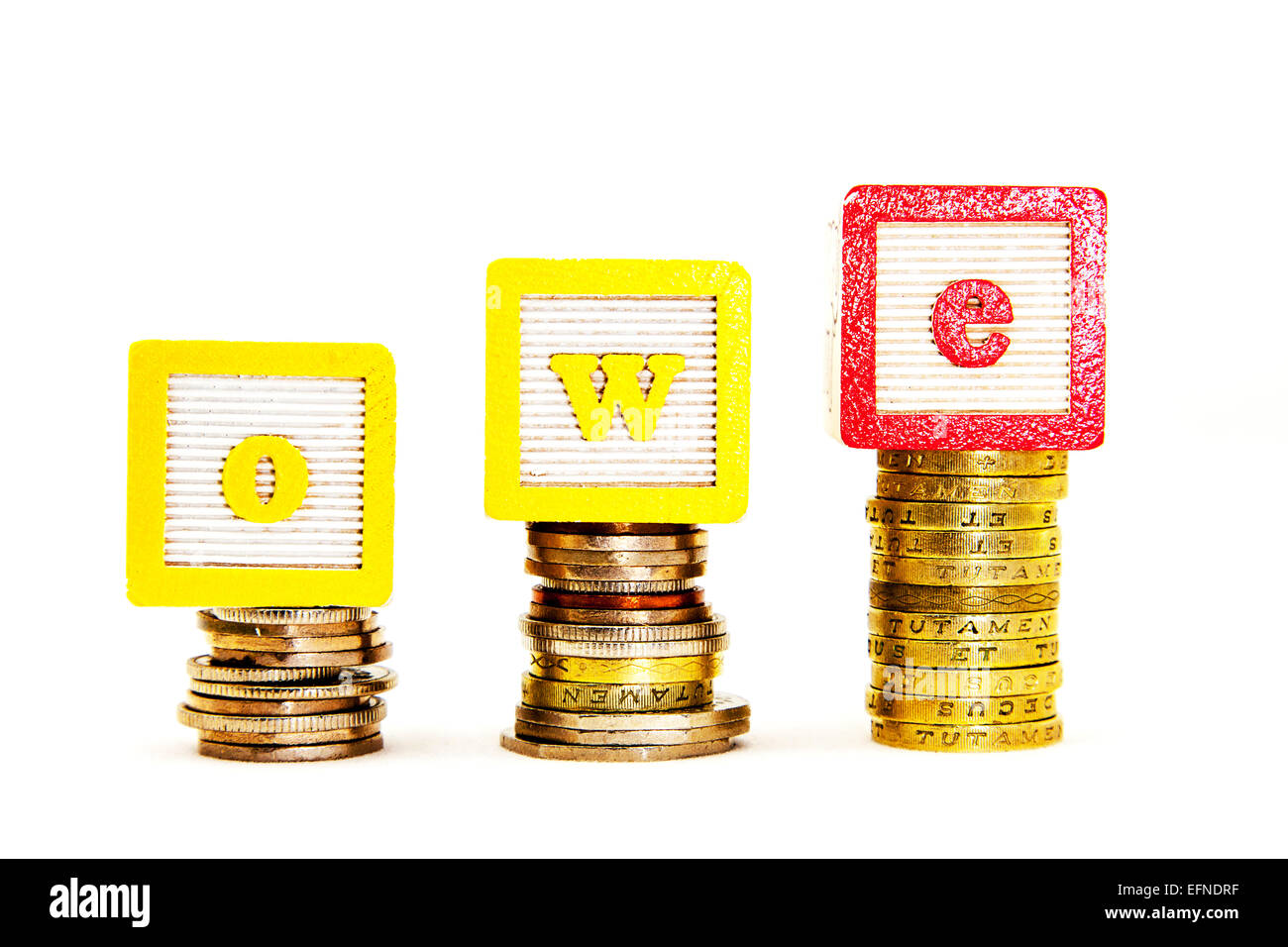 owe money debt debts loan loans credit lender lent payback more interest rate pound pounds cut out copy space white - Stock Image