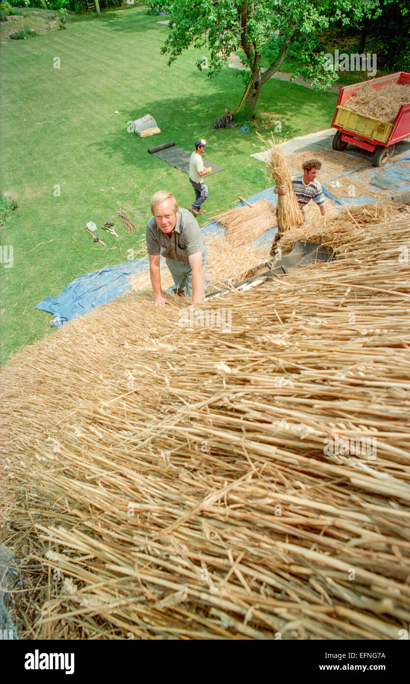 Thatcher Stephen Cleeve builds a traditional roof on a