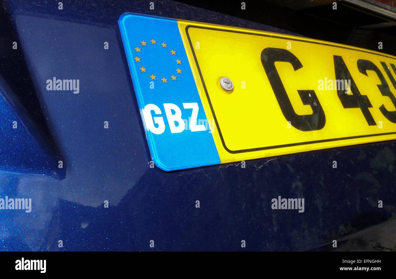 Close-up of Gibraltarian car registration plate, number plate, GBZ, Gibraltar, United Kingdom. - Stock Image