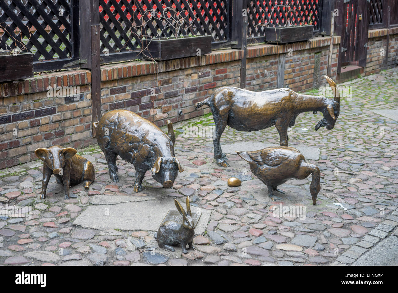 Monument in memory of the slaughtered animals Jatki old butchers stalls Gallery Wroclaw - Stock Image