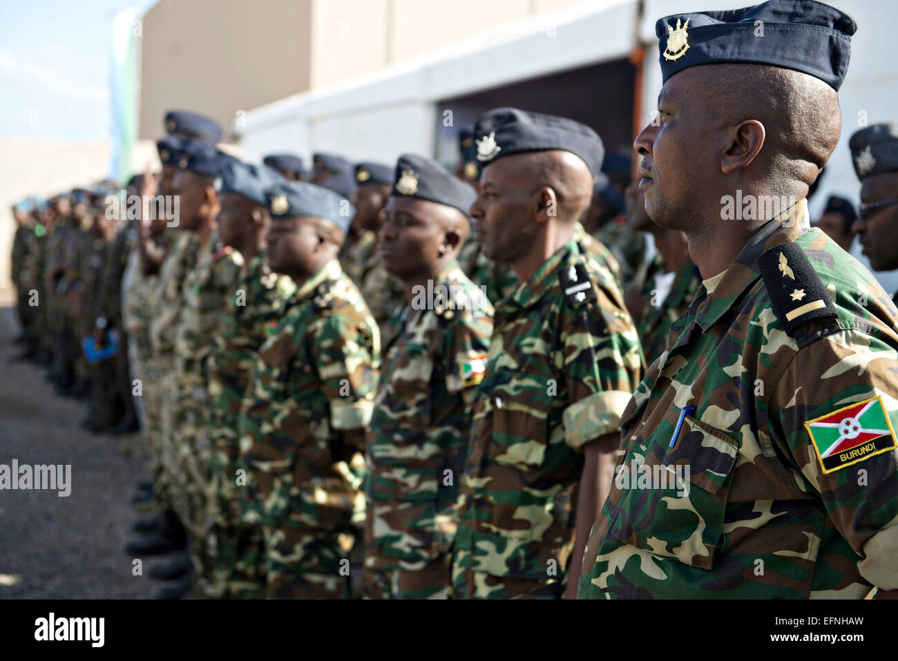 A Burundi National Defense Force airmen stand in formation during the opening ceremony for African Partnership Flight - Stock Image