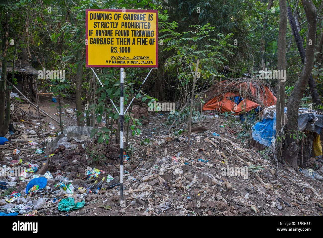 Dumping of Garbage by the Side of the Road, Majorda, Goa, India - Stock Image