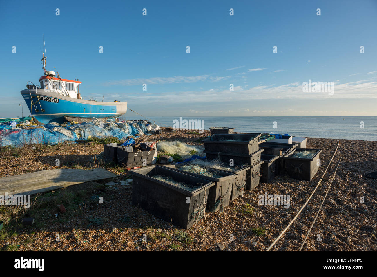 Fishing boat on the beach at Hythe, Kent. - Stock Image