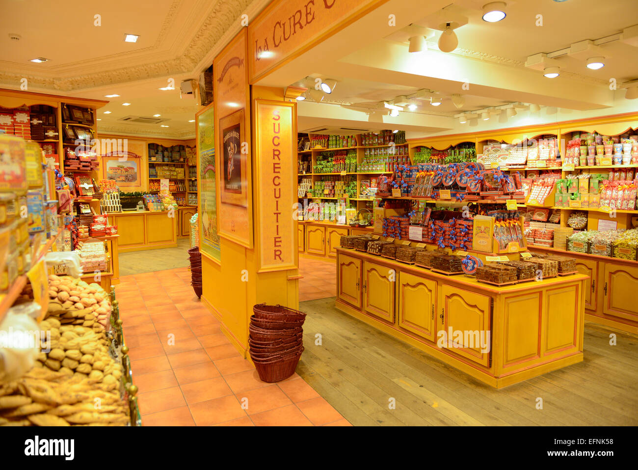 La Cure Gourmande Candy Shop in Brugge, Belgium - Stock Image