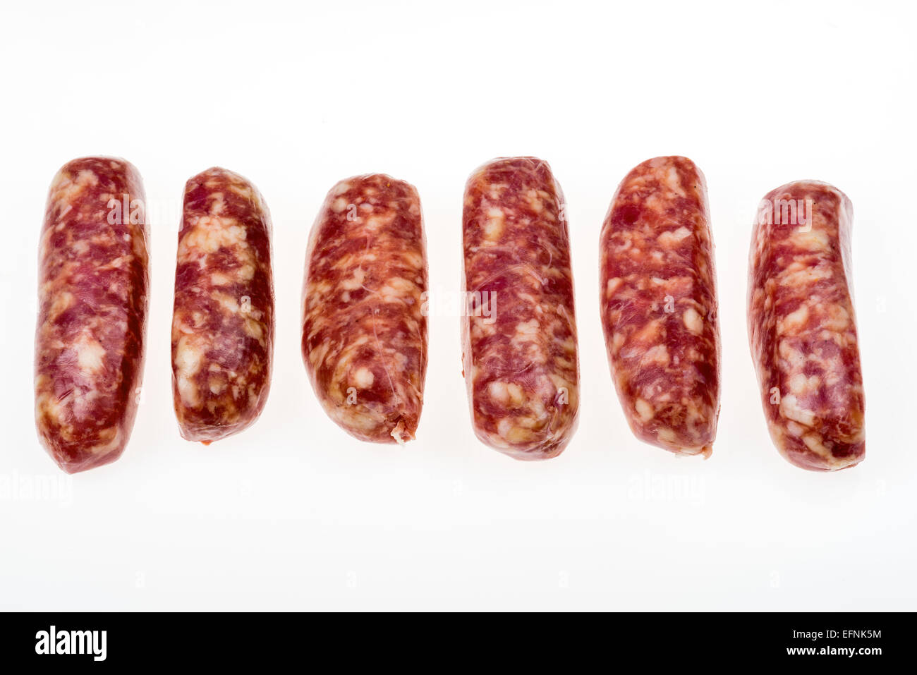 raw italian sausages made of wild boar pig fat, sausage meat FOOD delicate thin fat low fat low cholesterol specialty - Stock Image