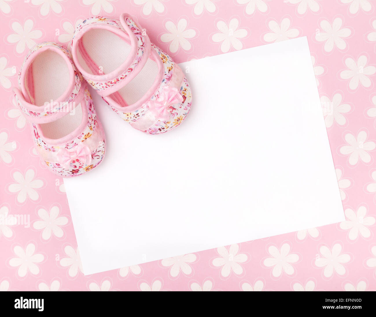 Blank card with baby girl shoes on a pastel pink floral - Baby background ...