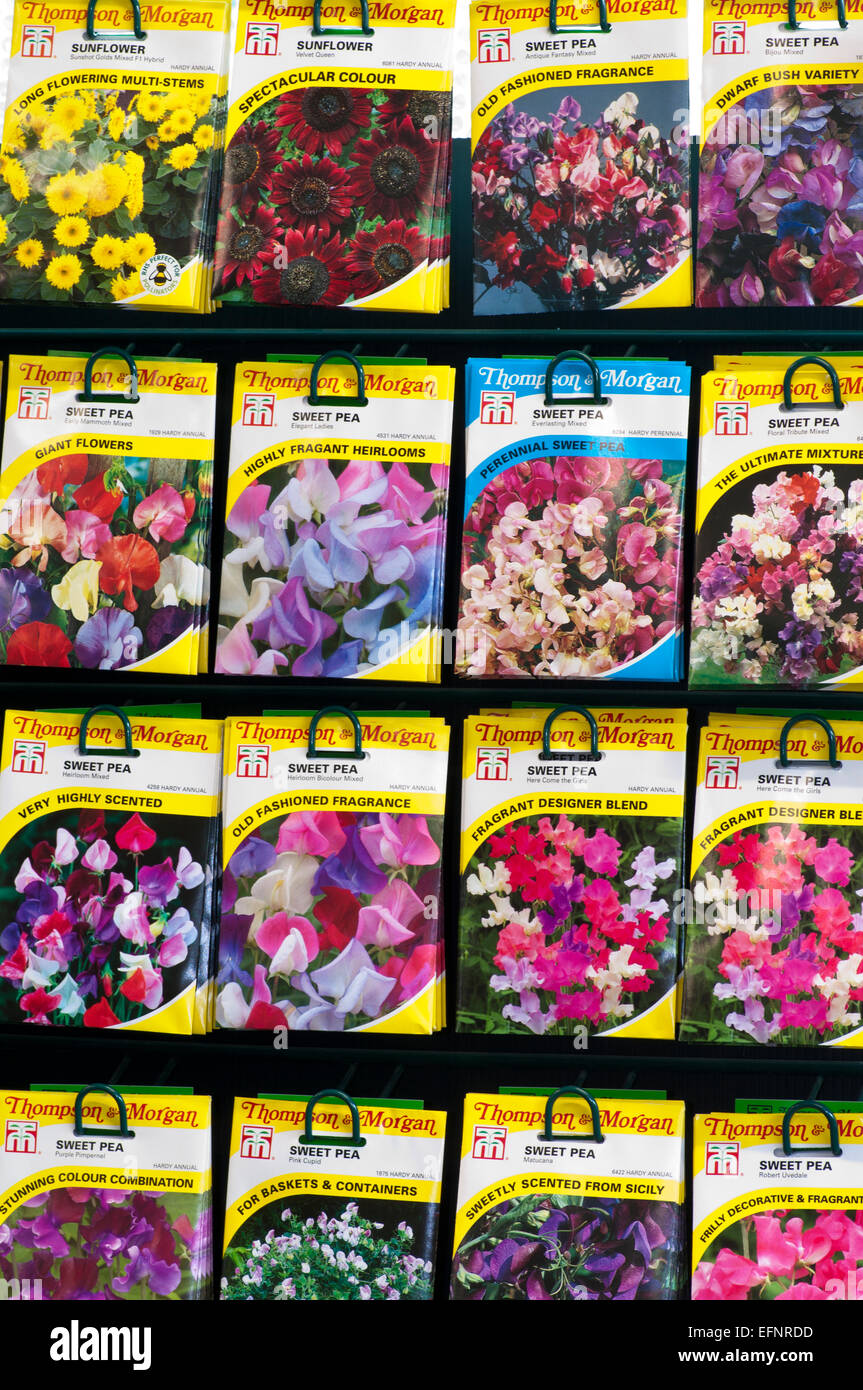 Garden Centre Display Rack Of Thompson and Morgan Flower Seeds - Stock Image
