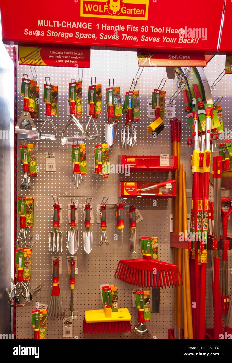 Shop Display Of Wolf Garten Gardening Tools Stock Photo Alamy