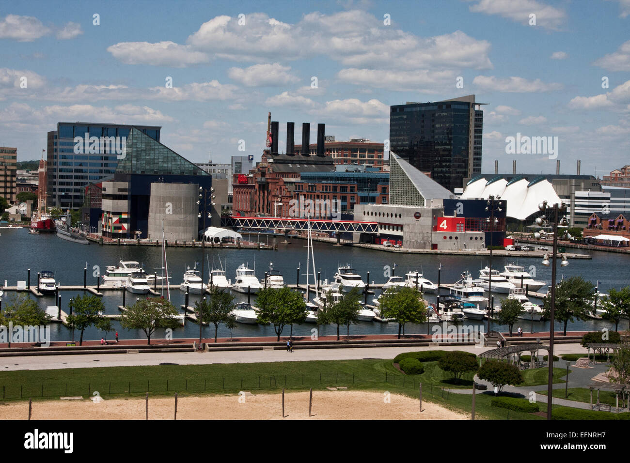Baltimore, Maryland, USA, the Inner Harbor from Federal Hill, showing the National Aquarium at Baltimore, Historic - Stock Image