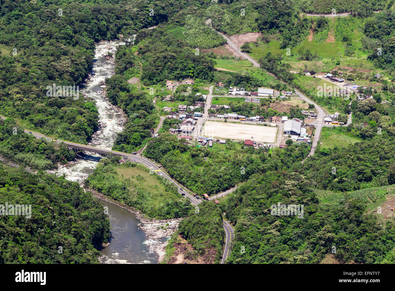 Rio Blanco Village In Ecuadorian Andes Aerial Shot - Stock Image