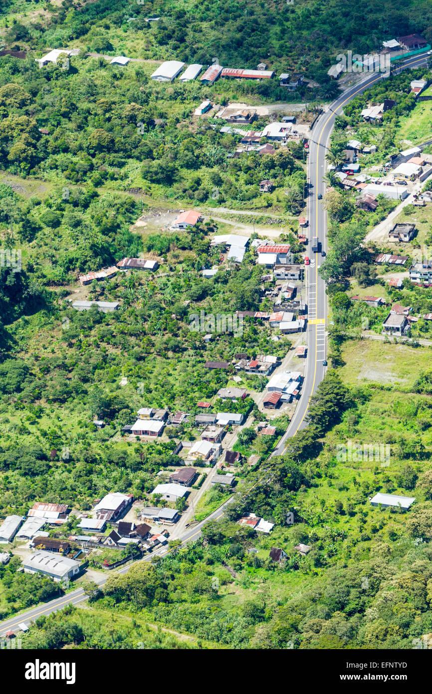 Rio Negro Village In Ecuadorian Andes Aerial Shot - Stock Image