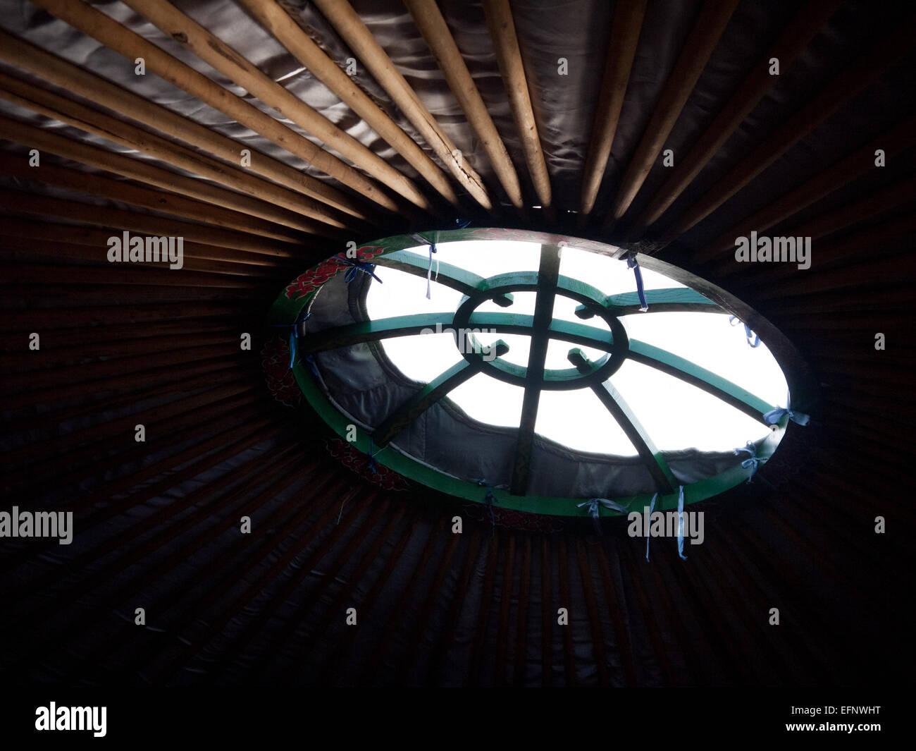 Mongolian Yurt, tent, Llangollen, Wales, United Kingdom Stock Photo