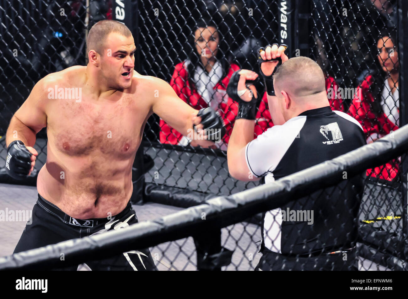Two heavyweight MMA fighters in the ring. - Stock Image