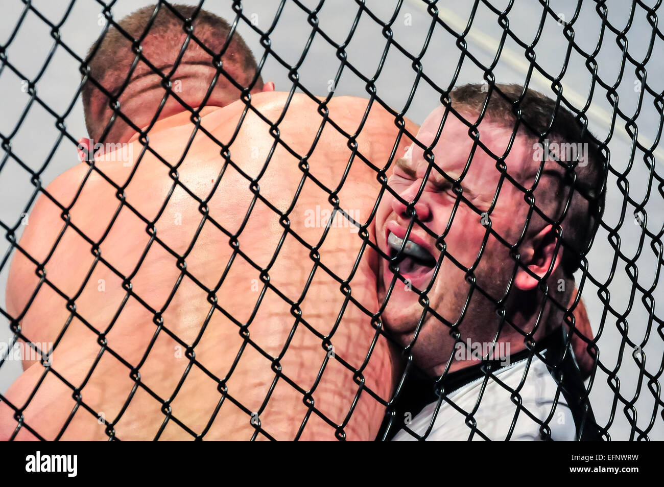 MMA fighter screams with pain after being trapped between the cage and his opponent, and his opponent has him in - Stock Image