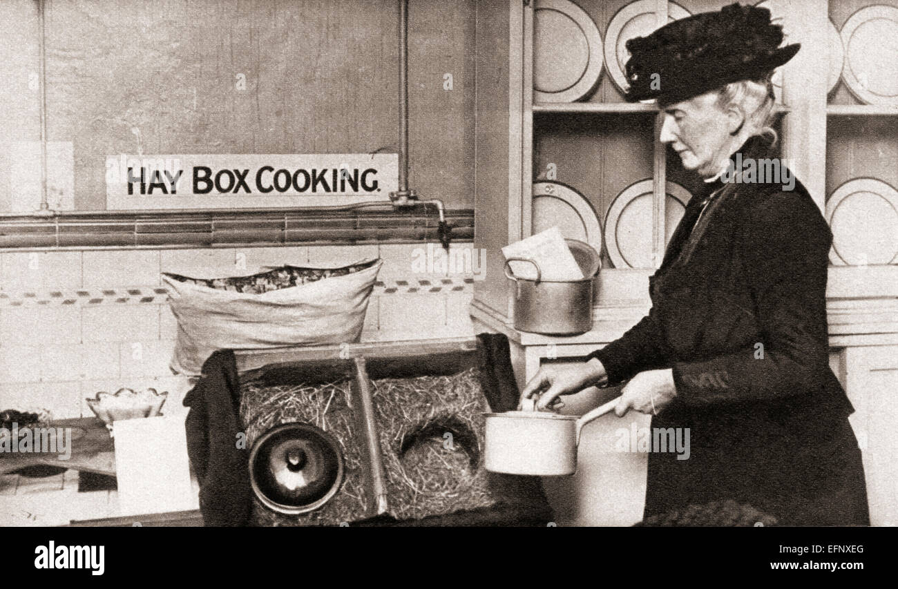 Economy in fuel led to the adoption of the hay box, aka straw box, fireless cooker, insulation cooker, wonder oven - Stock Image