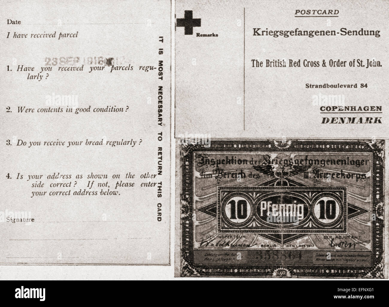 Front and reverse of card sent to British prisoners of war who were dependent upon contributions sent from home. - Stock Image