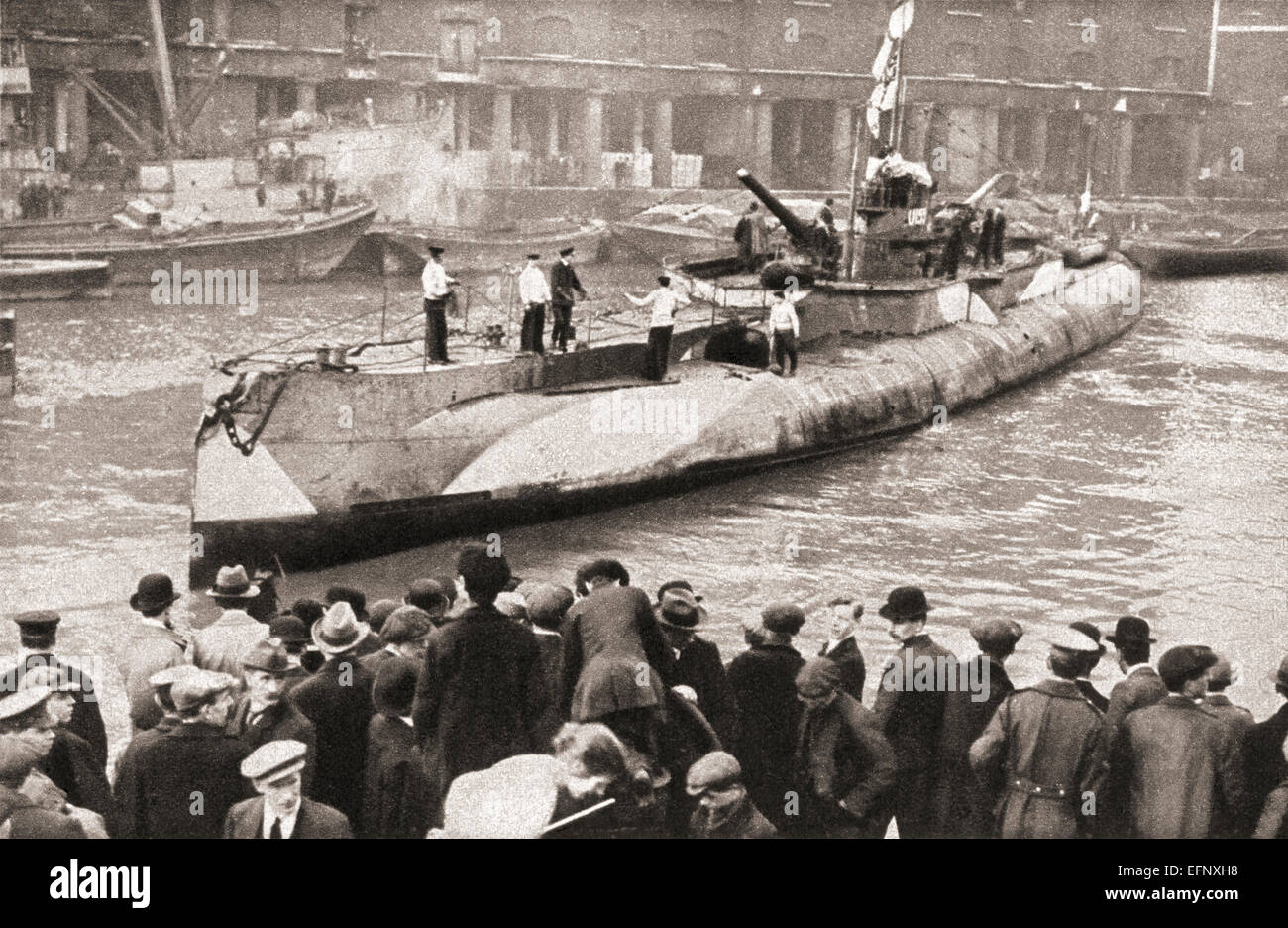 The German submarine U-155 on display in St. Katherine docks, London, England at the end of World War One. - Stock Image