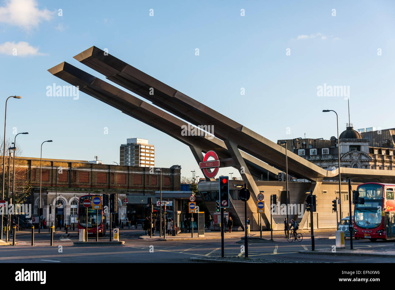 Vauxhall Bus Station, London is in the Borough of Lambeth and is maintained by Transport for London - Stock Image