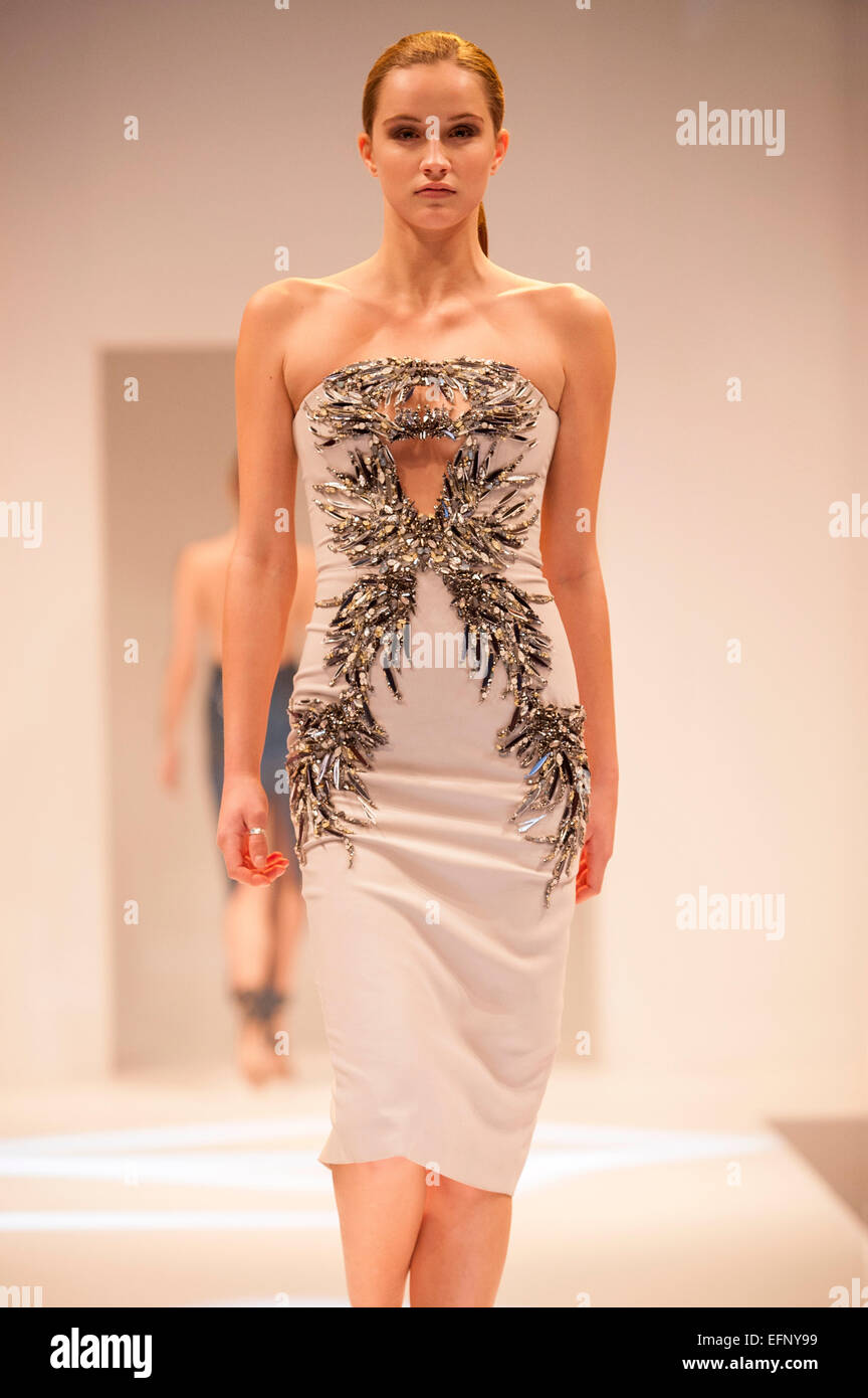 Fashion model on the catwalk during a Julien Macdonald fashion show - Stock Image