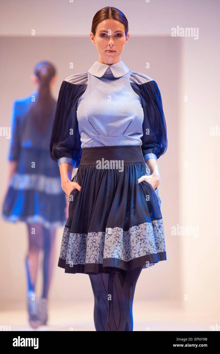 Fashion models on the catwalk during a Bora Aksu fashion show Stock Photo