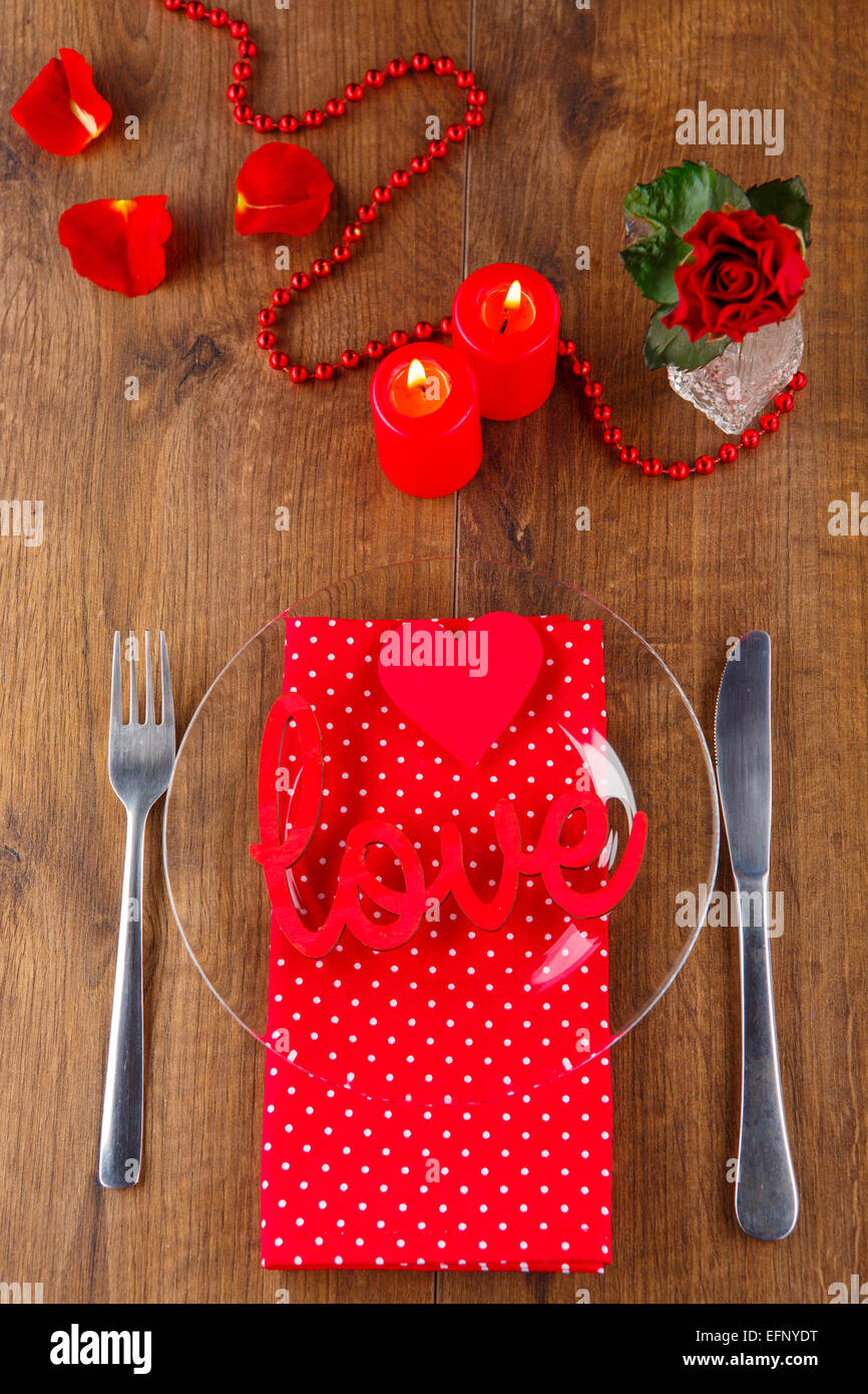 The Perfect Valentines Day Closeup Of Wooden Table Served With
