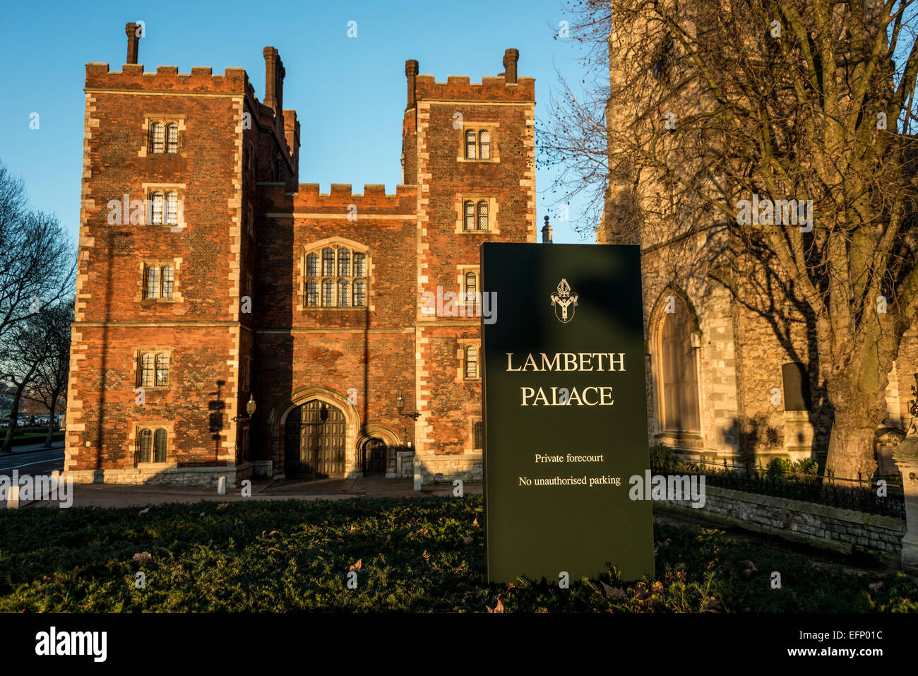 Lambeth Palace is the official London residence of the Archbishop of Canterbury in England, in North Lambeth. - Stock Image