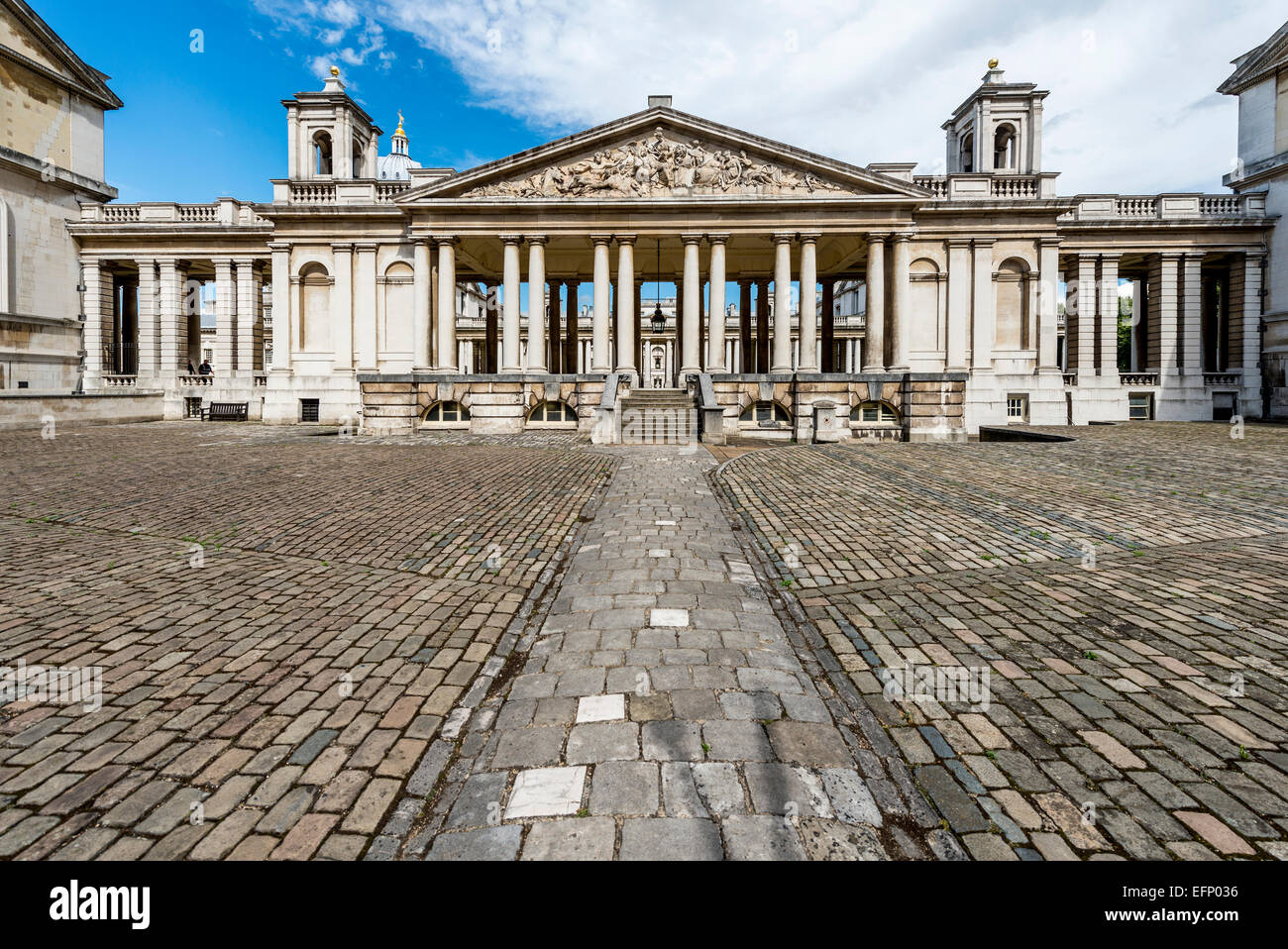 The Nelson pediment at the Old Royal Naval College in Greenwich London in the King William Court - Stock Image