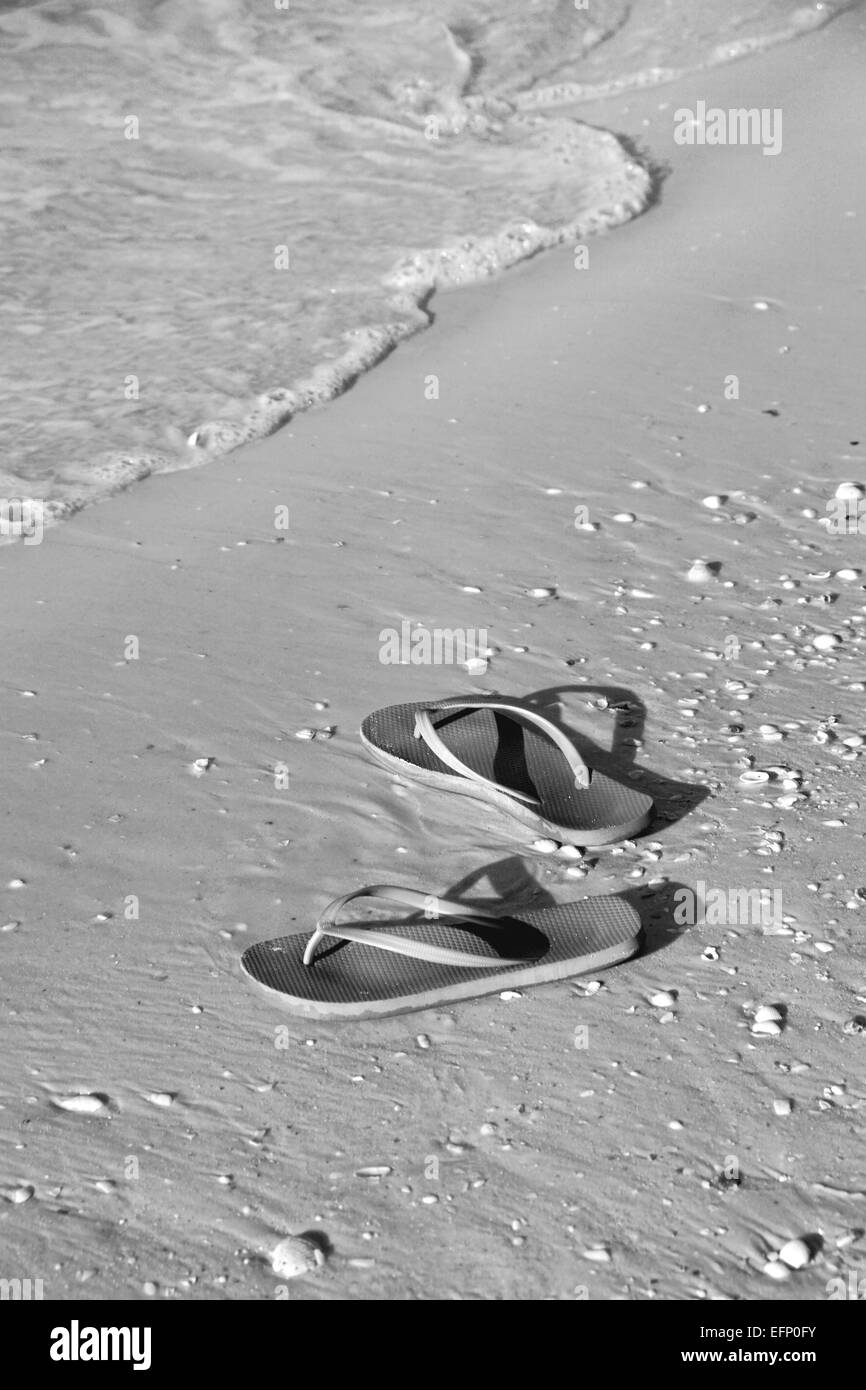 Flip flops on beach in Florida - Stock Image