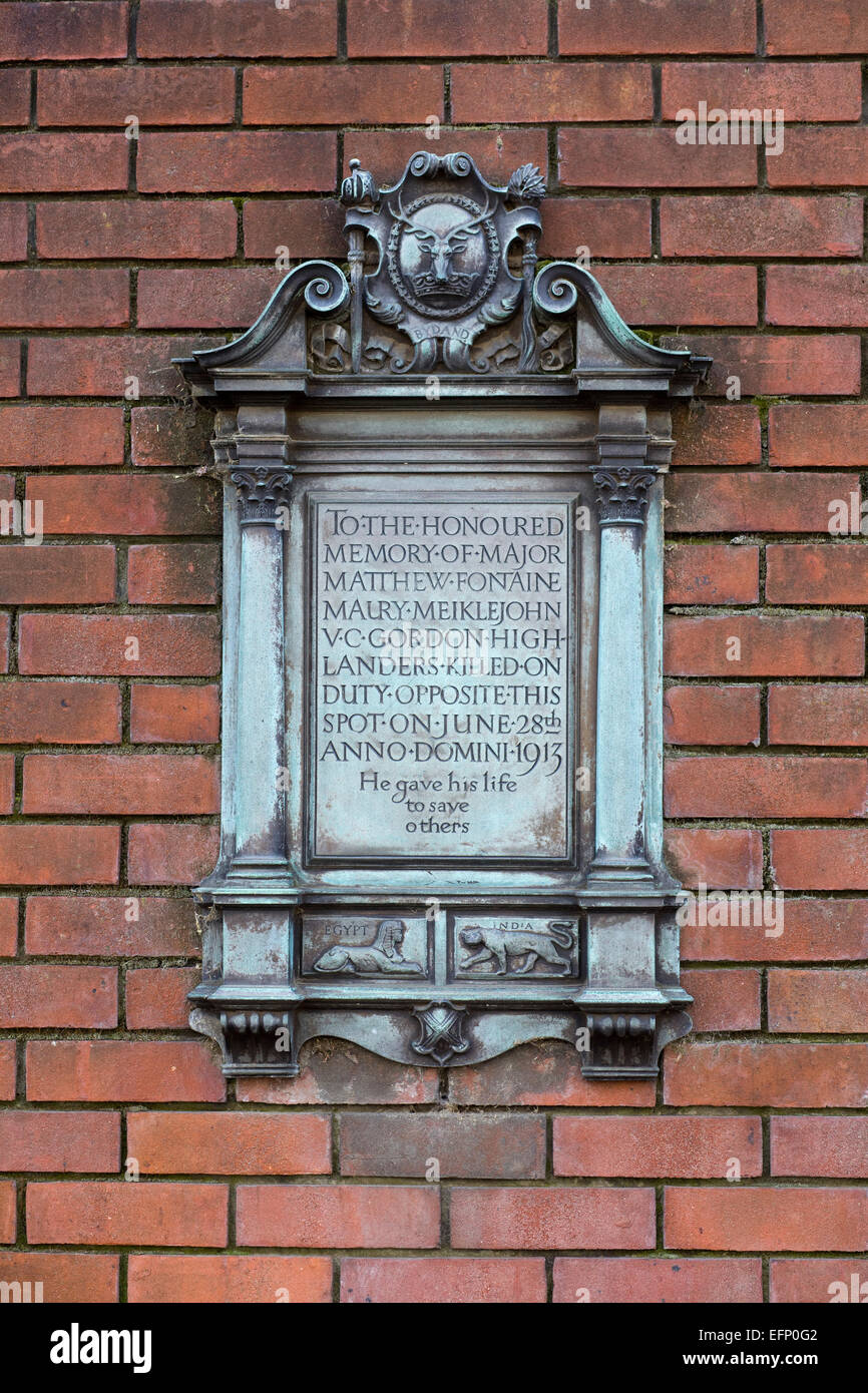Memorial to the Late Major Mathew Fontaine on the horse guards Barracks London England Stock Photo