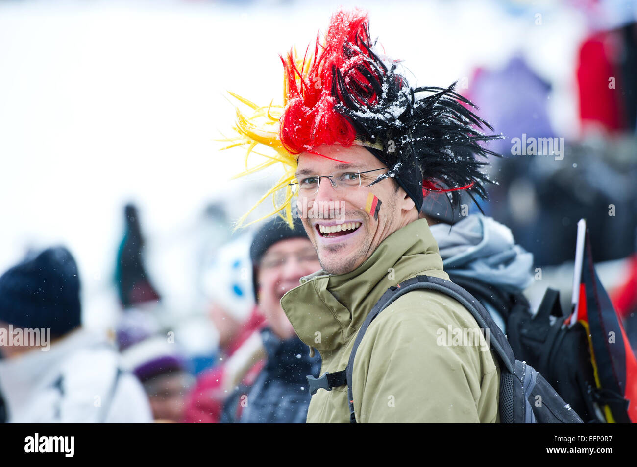 Titisee, Germany. 8th February, 2015. German supporter during the Large Hill Individual competition on day two of the FIS Ski Jumping World Cup on February 8, 2015 in Titisee, Germany. Credit:  Miroslav Dakov/Alamy Live News Stock Photo