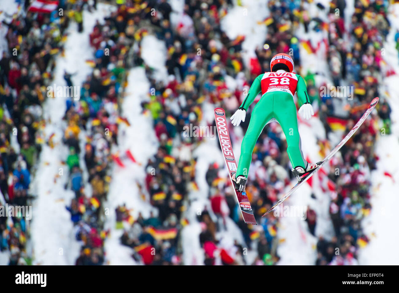 Titisee, Germany. 8th February, 2015. Stephan Leyhe (GER) competes in front of home crowd during the Large Hill Individual competition on day two of the FIS Ski Jumping World Cup on February 8, 2015 in Titisee, Germany. Credit:  Miroslav Dakov/Alamy Live News Stock Photo