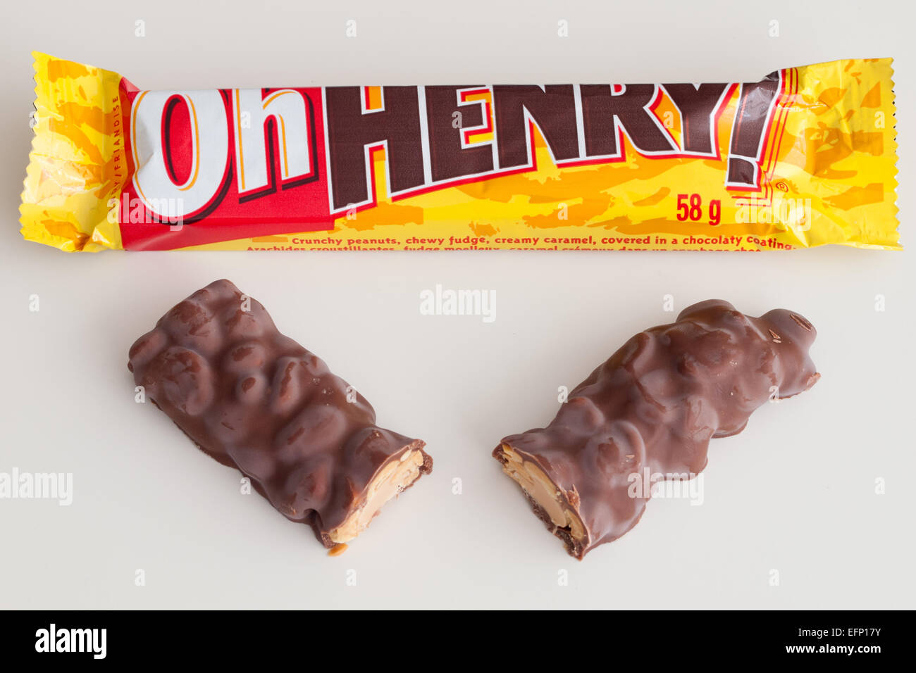 A Oh Henry! candy bar.  Canadian packaging shown. - Stock Image
