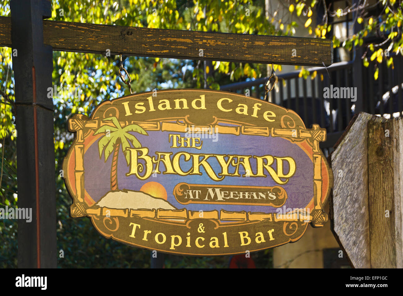Sign for The Backyard at Meehan's Island Cafe & Tropical Bar in old town of St. Augustine, Florida - Stock Image