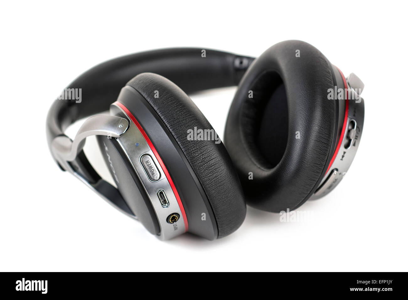 Bluetooth Wireless Headphones, Headset with Microphone for Answering Phone Calls - Stock Image
