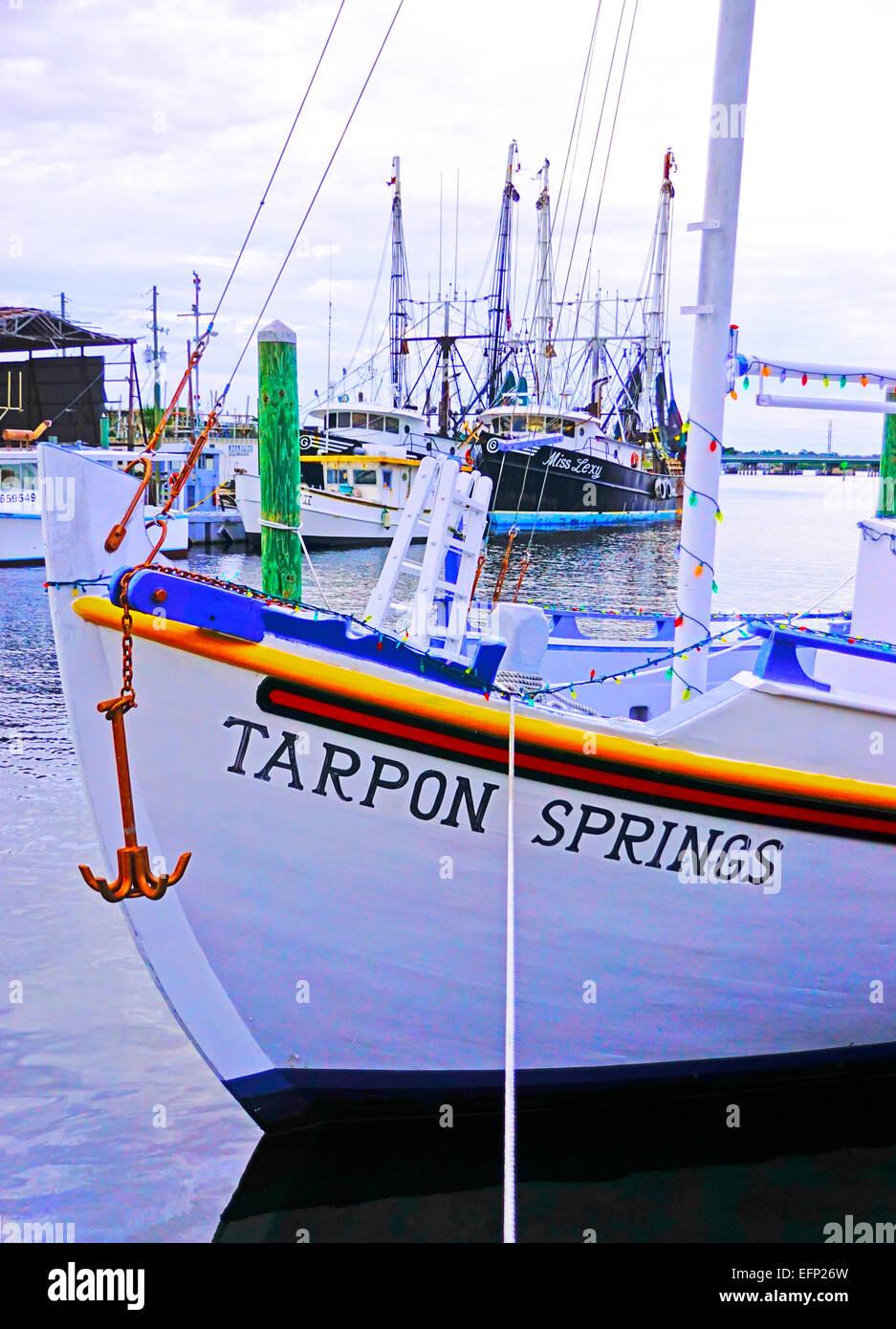 Boats at sponge docks at Tarpon Springs, Florida. - Stock Image
