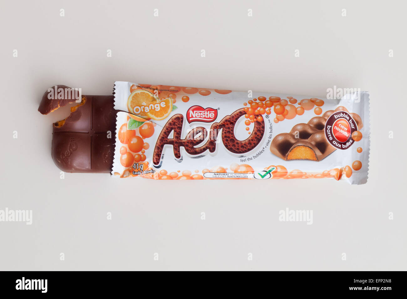 An Aero Orange chocolate bar, produced by Nestlé. Canadian packaging shown. - Stock Image