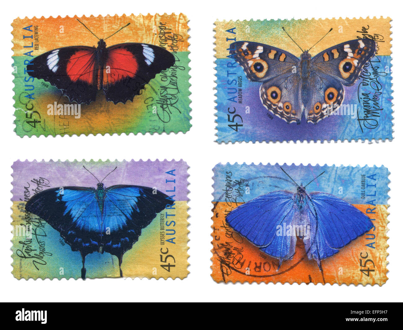 Collection of Butterfly Stamps, Australia - Stock Image