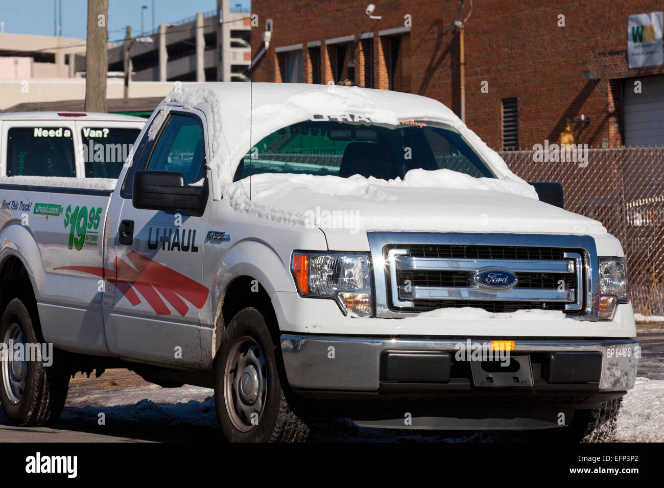 U-Haul pickup truck in winter - USA - Stock Image