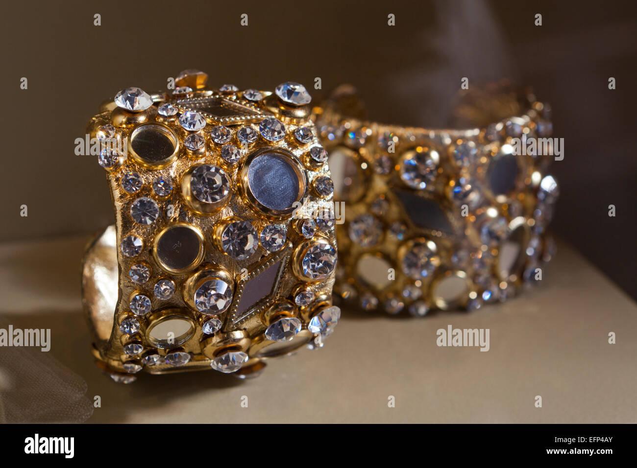 Cuff bracelets worn by Lena Horne, 1970 - USA - Stock Image