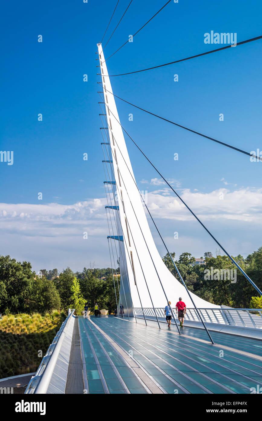 The Sundial Bridge at Turtle Bay.   Redding, California, United States. - Stock Image