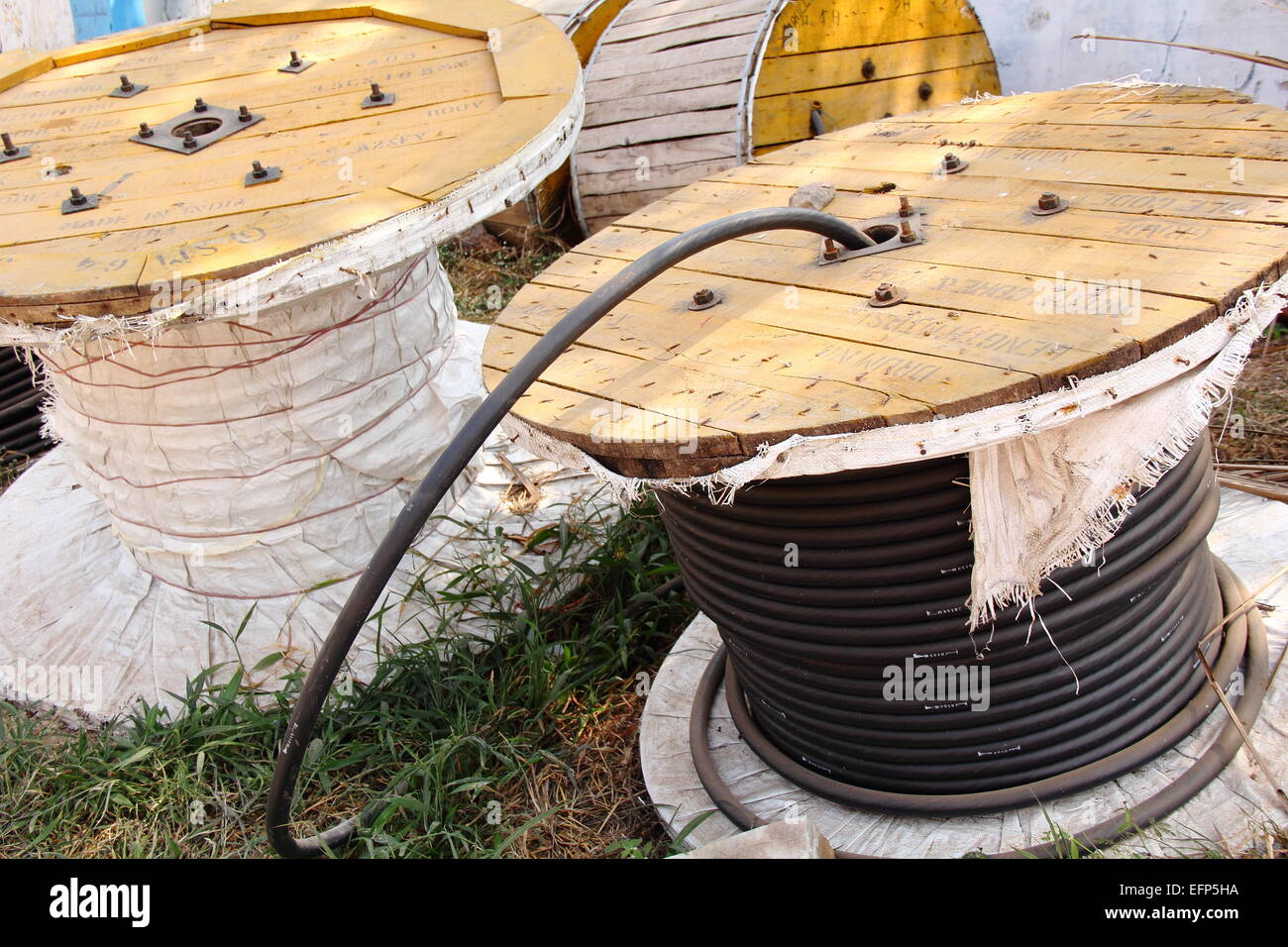 Telephone cable roll - Stock Image