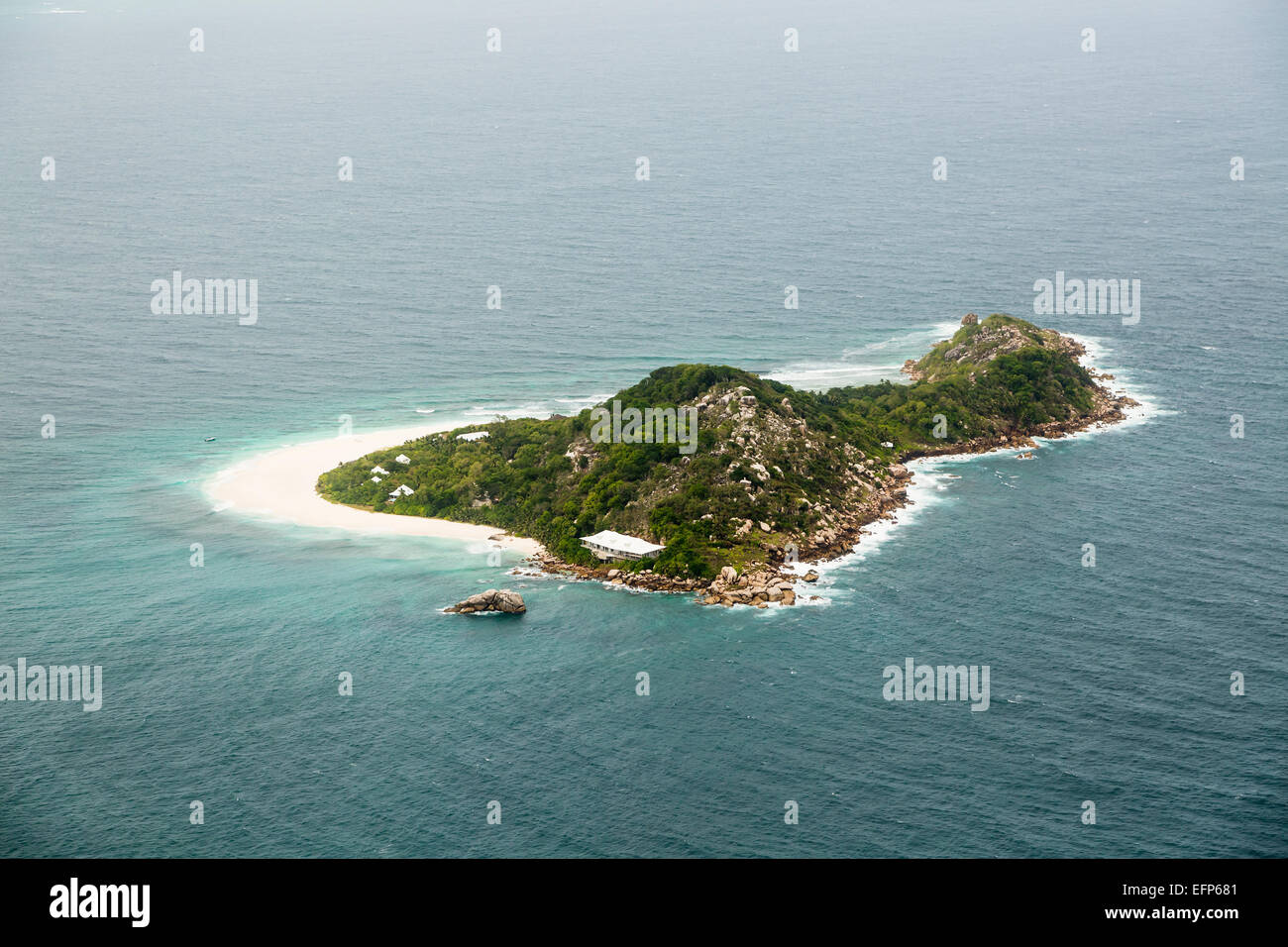 Cousine Island Aerial View, Seychelles - Stock Image