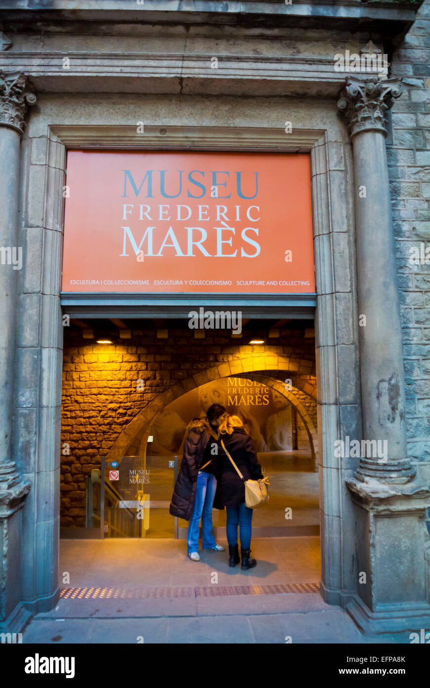Museo Frederic Mares, Barri Gotic, Barcelona, Spain - Stock Image