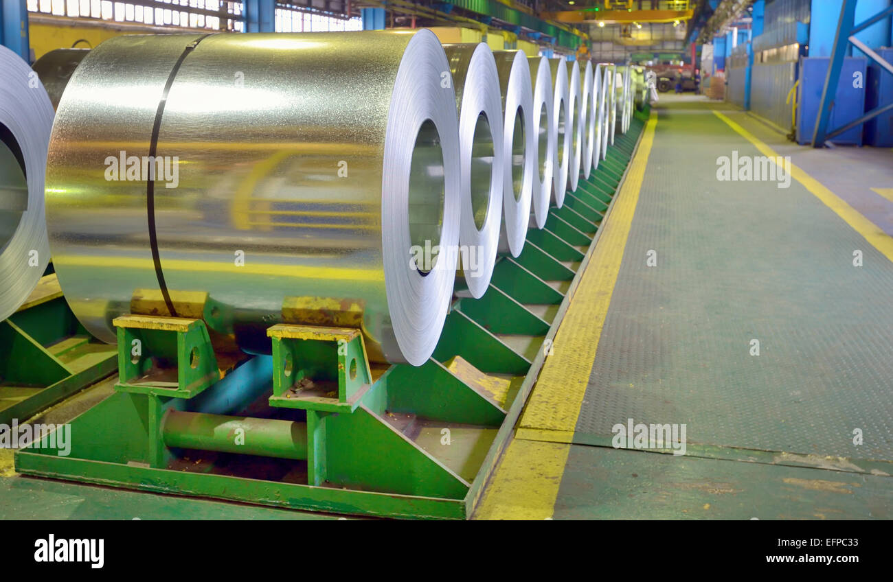 galvanized steel coils inside of plant - Stock Image