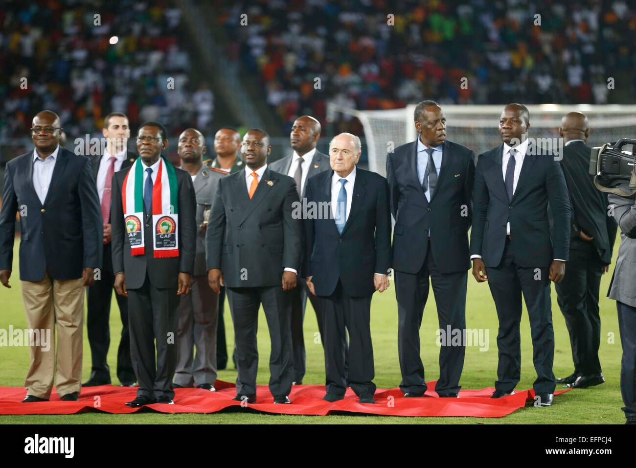 Teodoro Obiang Nguema Mbasogo (2nd left) and Fifa President Sepp Blatter (4th L) during their Africa Cup of Nations - Stock Image