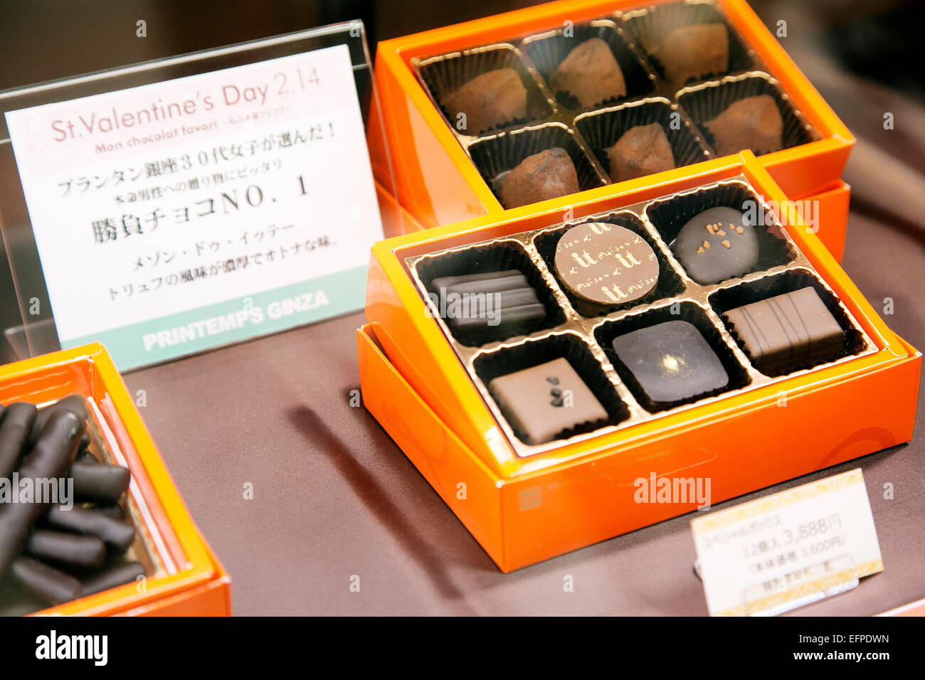 "Valentine's Chocolate on display on February 9, 2015, Tokyo, Japan : Maison d'IT is the most popular ""Shobu-choco"" Stock Photo"